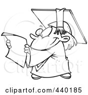 Royalty Free RF Clip Art Illustration Of A Cartoon Black And White Outline Design Of A Graduate Kid Reading A Certificate by toonaday