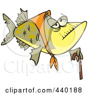 Royalty Free RF Clip Art Illustration Of A Cartoon Granny Fish With A Cane