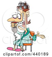 Royalty Free RF Clip Art Illustration Of A Cartoon Woman Talking Gossip On The Phone by toonaday
