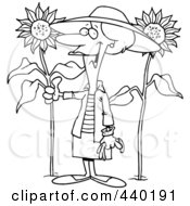 Royalty Free RF Clip Art Illustration Of A Cartoon Black And White Outline Design Of A Green Thumb Woman In Her Sunflower Gardener by toonaday
