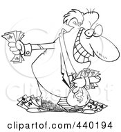 Royalty Free RF Clip Art Illustration Of A Cartoon Black And White Outline Design Of A Greedy Rich Businessman Holding His Money