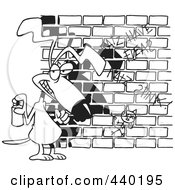 Royalty Free RF Clip Art Illustration Of A Cartoon Black And White Outline Design Of A Dog Spray Painting Graffiti by toonaday