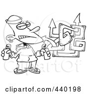 Royalty Free RF Clip Art Illustration Of A Cartoon Black And White Outline Design Of A Punk Boy Spray Painting Graffiti by toonaday