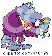 Royalty Free RF Clip Art Illustration Of A Cartoon Romantic Gorilla Holding Flowers by toonaday