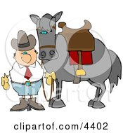Cowboy Standing Beside A Saddled Horse Clipart by djart