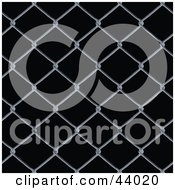 Clipart Illustration Of A Background Of Chain Link Fencing On Black