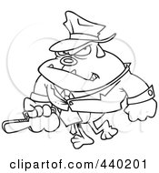 Royalty Free RF Clip Art Illustration Of A Cartoon Black And White Outline Design Of A Gangster Bulldog Carrying A Violin Case
