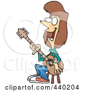 Royalty Free RF Clip Art Illustration Of A Cartoon Female Guitarist Sitting On A Stool by toonaday