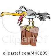Royalty Free RF Clip Art Illustration Of A Cartoon Gull On A Post