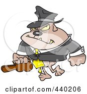 Royalty Free RF Clip Art Illustration Of A Cartoon Gangster Bulldog Carrying A Violin Case