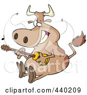 Royalty Free RF Clip Art Illustration Of A Cartoon Cow Guitarist by toonaday