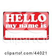 Clipart Illustration Of A Blank Red And White Hello My Name Is Tag