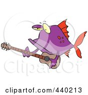 Royalty Free RF Clip Art Illustration Of A Cartoon Purple Fish Guitarist by toonaday