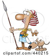Royalty Free RF Clip Art Illustration Of A Cartoon Dog Sniffing An Egyptian Guards Foot by toonaday