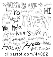 Clipart Illustration Of A Collage Of Spanish And English Greeting Doodles On White
