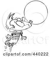 Royalty Free RF Clip Art Illustration Of A Cartoon Black And White Outline Design Of A Little Boy Floating Away With A Big Bubble Of Gum