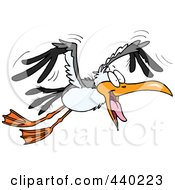 Royalty Free RF Clip Art Illustration Of A Cartoon Flying Gull