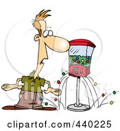 Royalty Free RF Clip Art Illustration Of A Cartoon Gumball Machine Dropping Gum On The Floor By A Man by toonaday