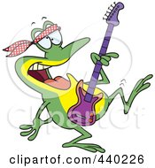 Royalty Free RF Clip Art Illustration Of A Cartoon Dancing Guitarist Frog by toonaday
