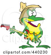 Royalty Free RF Clip Art Illustration Of A Cartoon Guitarist Frog Wearing A Straw Hat by toonaday