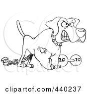 Royalty Free RF Clip Art Illustration Of A Cartoon Black And White Outline Design Of A Guard Dog With A Dumbbell by toonaday