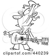 Royalty Free RF Clip Art Illustration Of A Cartoon Black And White Outline Design Of A Winking Male Guitarist