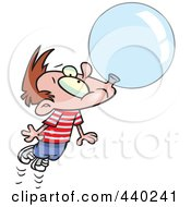 Royalty Free RF Clip Art Illustration Of A Cartoon Little Boy Floating Away With A Big Bubble Of Gum by toonaday