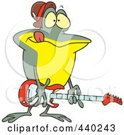 Royalty Free RF Clip Art Illustration Of A Cartoon Guitarist Frog by toonaday