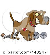 Royalty Free RF Clip Art Illustration Of A Cartoon Guard Dog With A Dumbbell by toonaday