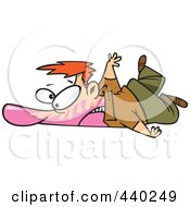 Royalty Free RF Clip Art Illustration Of A Cartoon Man Collapsed On The Ground With Bubble Gum In His Face by toonaday