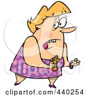 Royalty Free RF Clip Art Illustration Of A Cartoon Guilty Overweight Woman Eating A Candy Bar by toonaday