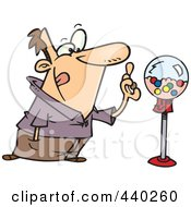 Royalty Free RF Clip Art Illustration Of A Cartoon Man Holding Gum By A Gumball Machine by toonaday