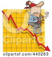 Royalty Free RF Clip Art Illustration Of A Cartoon Blindfolded Man Unicycling Down A Graph