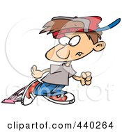 Royalty Free RF Clip Art Illustration Of A Cartoon Little Boy Looking Back At Gum Stuck To His Shoe by toonaday