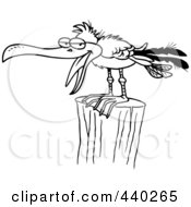 Royalty Free RF Clip Art Illustration Of A Cartoon Black And White Outline Design Of A Gull On A Post