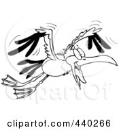 Royalty Free RF Clip Art Illustration Of A Cartoon Black And White Outline Design Of A Flying Gull