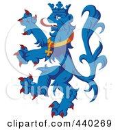Royalty Free RF Clip Art Illustration Of A Blue Heraldic Lion Logo