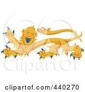 Royalty Free RF Clip Art Illustration Of A Yellow Heraldic Lion Logo