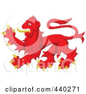 Royalty Free RF Clip Art Illustration Of A Red And Yellow Heraldic Lion Logo