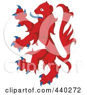 Red And Blue Heraldic Lion Logo