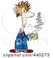 Royalty Free RF Clip Art Illustration Of A Cartoon Tired Man With Bad Hair Holding Coffee