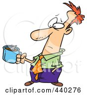Royalty Free RF Clip Art Illustration Of A Cartoon Man Holding A Bad Cup Of Coffee With A Swimming Shark by toonaday