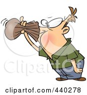 Royalty Free RF Clip Art Illustration Of A Cartoon Nauseous Man Breathing Into A Paper Bag by toonaday