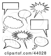 Clipart Illustration Of A Collage Of Black And White Thought Bubbles