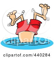 Royalty Free RF Clip Art Illustration Of A Cartoon Bad Diver Wiggling His Legs