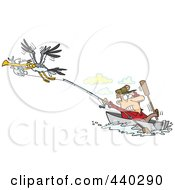 Royalty Free RF Clip Art Illustration Of A Cartoon Bad Gull Stealing A Fish From A Fisherman