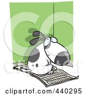 Royalty Free RF Clip Art Illustration Of A Cartoon Bad Puppy Sitting On Newspaper In The Corner