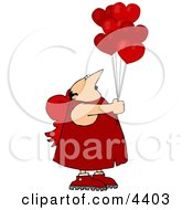 Valentines Day Cupid Man Holding Red Heart Balloons Clipart