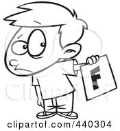Royalty Free RF Clip Art Illustration Of A Cartoon Black And White Outline Design Of A Nervous School Boy Holding Out A Bad Report Card by toonaday