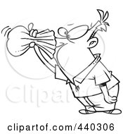 Royalty Free RF Clip Art Illustration Of A Cartoon Black And White Outline Design Of A Nauseous Man Breathing Into A Paper Bag
